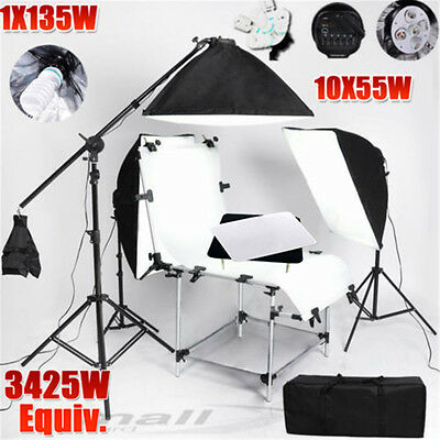 Photo Studio Softbox Lighting Boom Arm Stand & Foldable Shooting+Display Table