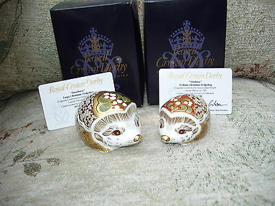 Royal Crown Derby SNOWBERRY large HEDGEHOG  1st Quality gold stopper CERTIFICATE