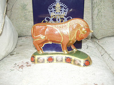 Royal Crown Derby HARRODS BULL 1st Quality LIMITED EDITION + original box