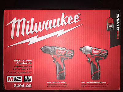 Milwuakee M12 Redlithium 2-Pc Drill/impact Combo Kit 2494-22