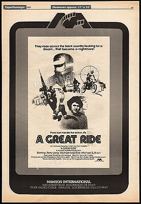 A GREAT RIDE__Original 1978 Trade AD / poster__MARC ALAIMO__JOHN HOYT__Motocross