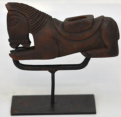 Vintage Guatemalan Horse Pipe - Hand Carved- With Stand