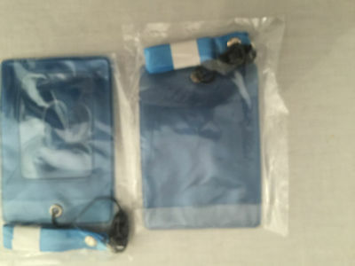 2 x  Blue  ID , ticket Card Holder with Lanyard