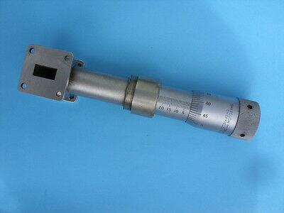 Ku Band Cavity Wavemeter. Giant 25mm Micrometer and WR62/WG18 Waveguide Flanges