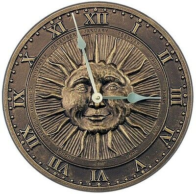 Whitehall Products Bronze 13 in. Wall Clock French Sunface for Indoor or Outdoor