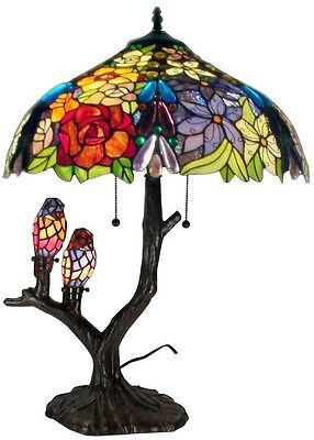 Tiffany Table Lamp 25 in. Floral Birds Multicolored Handcrafted Beauty Cut Glass