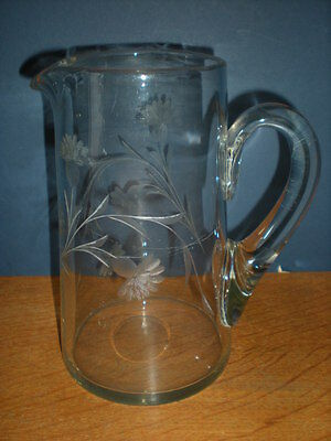 Antique Milk Water Pitcher Hand Blown and Etched Flowers Floral