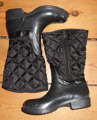 girls new quilted fleece lined boots, black size 13.