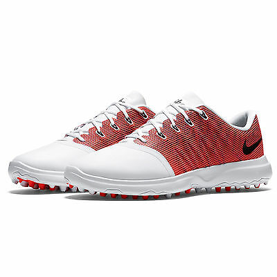 New Nike Lunar Empress 2 Womens Spikeless Golf Shoes : White Red Orange