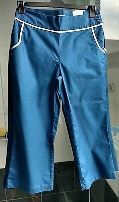 Ladies Ashworth Golf Cropped Trousers - Sky Blue Size 8