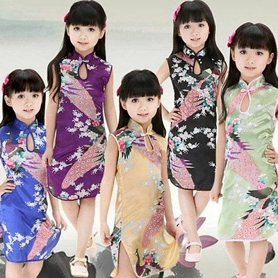 Chinese Baby Girl Qipao Dress Kids Floral Short Sleeve Peacock Cheongsam Clothes