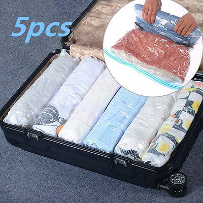 5pcs Roll Up Compression Vacuum Storage Bags Travel Home Luggage Space Saver Bag