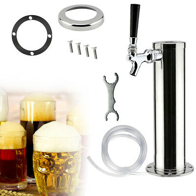 Single Tap Stainless Steel Draft Beer Tower Homebrew Kegerator Chrome Faucets