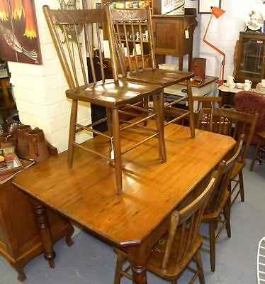 Vintage Country/ Colonial Dining Setting  Table/ 8 chairs .