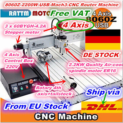 [DE ship] 4 Axis Mach3 USB 2200W 8060 Cnc router Engraving Milling Machine 220V