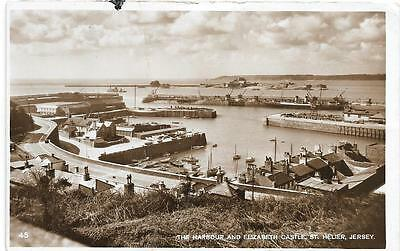 St.helier Harbour,jersey, Early Sepia/rp Postcard.