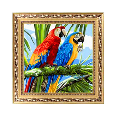 DIY 5D Diamond Embroidery Two Parrots Painting Cross Stitch Craft Home Decor