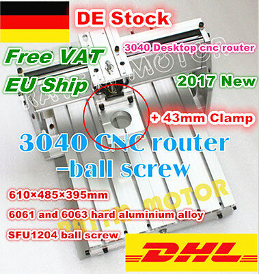3040 Desktop CNC Router Engraving Machine Milling aluminum Frame+43mm Clamp -EU
