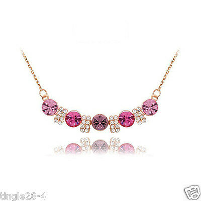 Luxury Women Crystal Diamond Gold plated pendant necklace jewelry