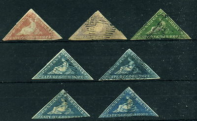 7 Cape of Good Hope Triangles 1p 4x2p 6p Shilling Used Faulty As Per Scans