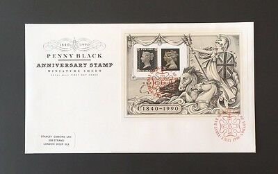 1990 Penny Black 150th Anniversary Miniature sheet FDC	Cancel City Of London