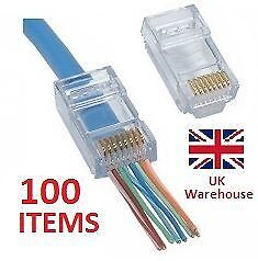 Cat 5/5e EZ RJ45 EZRJ45 Crimp Lan Network Connectors -Pack of 100 UK Stock