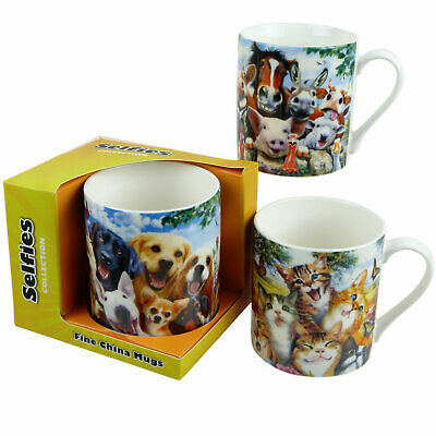 Selfie Mug 3 Designs Cats Dogs Farmyard Animals Horses Cows Pigs Howard Robinson