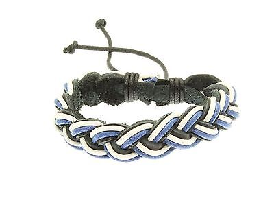 Plaited Leather Strap Bracelet Blue White Black Wristband Surf Surfer Adjustable