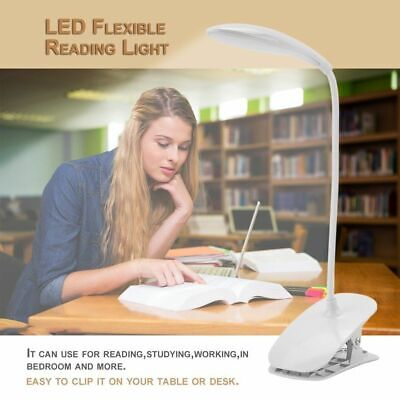 USB Rechargeable LED Light Dimmable Clip-On Desk Table Reading Book Lamp New