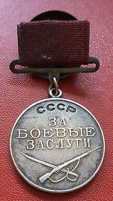 Soviet Russian WWII Combat Service Medal No. 140499 order badge