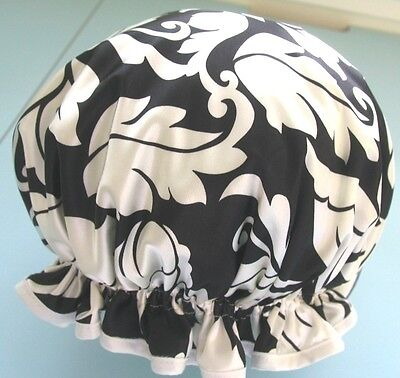 designer SHOWER CAP SATIN BLACK WITH OFF WHITE ABSTRACT  water proof