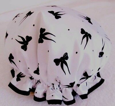 SHOWER CAP HAT   HANDMADE, WATERPROOF White satin with little black bows  cute