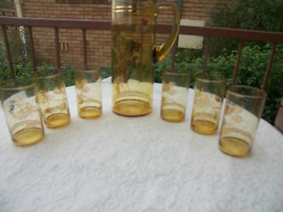Vintage Bohemia Amber And Guilt Glass Water Jug And 6 Glasses