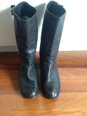 Womens Black Country Road Leather Boots-size 40