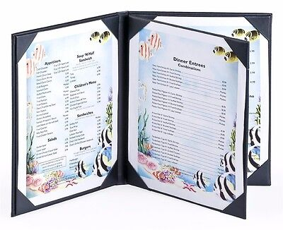 "Set of 25, Menu Covers for Restaurants Hold (4) 8.5"" x 11"" Entrée Lists, 3-panel"