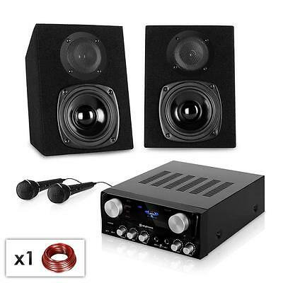 COMPLETE DISCO KARAOKE PARTY SOUND SYSTEM AMPLIFIER SPEAKERS 2x MICROPHONES SET