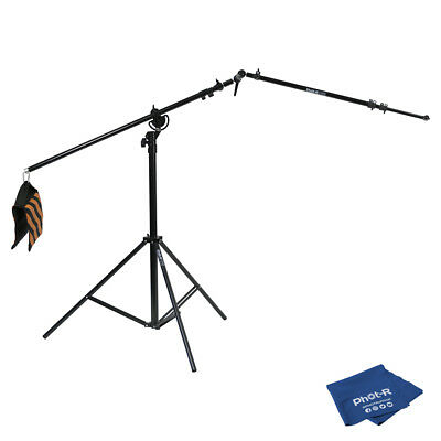 Phot-R 4m Heavy Duty Boom Stand Reflector Holder Arm Ball Joint Microfibre Cloth