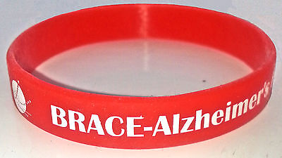 BRACE - Alzheimer's Research red silicone wristband Charity Wristband Dementia