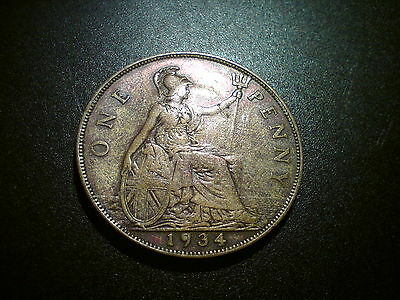 1934 George V British Gb Penny Coin. Excellent Grade Ef. Lovely Tone