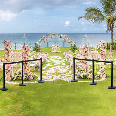 4x Black Retractable Crowd Control Belt Stanchion Queue Line Barriers Poles