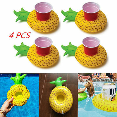 4Pcs Inflatable Floating Pool Beach Drink Pineapple Can Cup Beer Holder Boat Toy