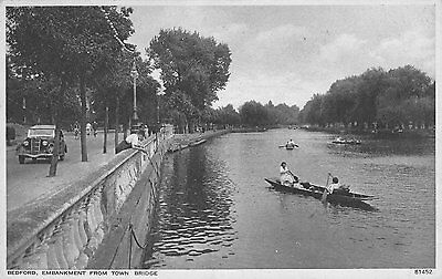 Postcard showing The Embankment From Town Bridge, Bedford.