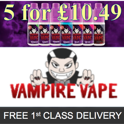 Vampire Vape E-Liquid *5x10ml bottles for £10.49* - All Flavours & Strengths