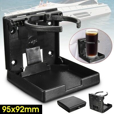 Adjustable BLACK Folding Drink Cup Holder Mount Boat Marine Caravan Car RV NEW