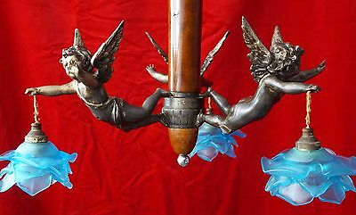 Lovely Antique French Metal Cherubs Angel Chandelier 3 arms Blue Glass Shades