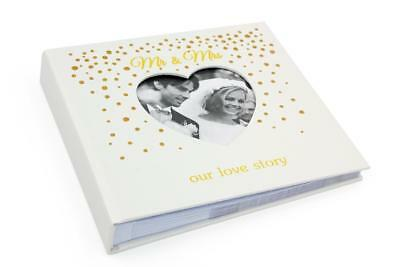 """Mr and Mrs Gold Dot Love Story Wedding Photo Album 4x6"""" Boxed 272430"""