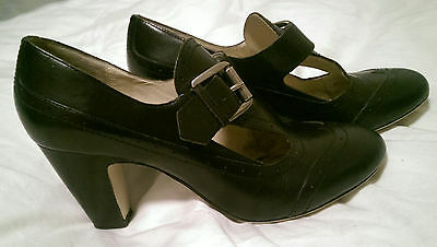 Wittner black brogue leather heel shoes 40 9