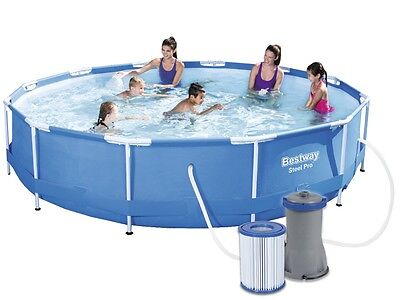 Bestway Swimming Pool 56416 Swimmbad 366x76 Frame Paddling Pool + Pump #3580