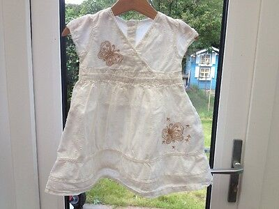 Baby Girl 12-18 Months White Butterfly Summer Dress