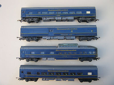 Vintage TRI-ANG HO Scale Transcontinental Set of Carriages (4) Railway Train